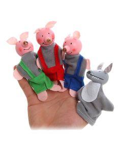 4 Piece Set Fairy Tale Three Little Piggies Finger Puppets