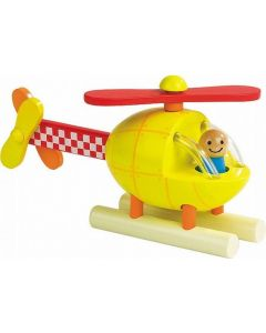 Wooden Yellow Helicopter with Magnetic Pieces