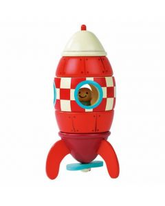 Wooden Red Rocket Ship with Magnetic Pieces