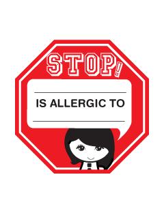 Custom Kids Allergy Name Labels - Girls