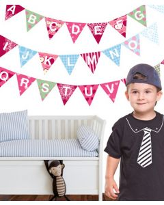 Alphabet Bunting coloured Wall Stickers Pack