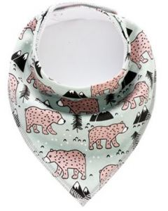 Washable Cotton Baby Bib Grizzly Bear