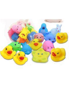 Penguin with Animals Squeeze Squeak Friends Bath Toys