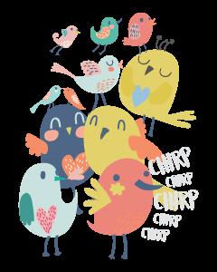 Birds Kids Name Labels (Dark)