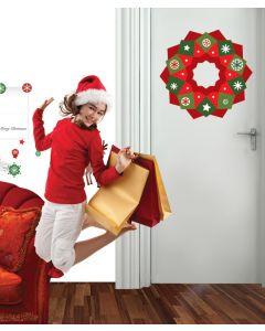Block Christmas Wreath Wall Sticker Packs