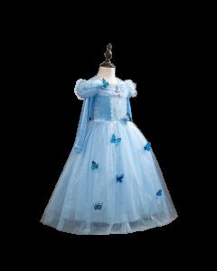 Kids Blue Fancy Dress Tulle Velvet Long Sleeve Princess Cinderella Costume