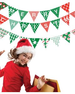 Bunting Merry Christmas Red Green White Wall Stickers 26 Pack-Red White