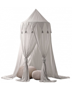 Childs Cotton Bedroom Tent Mosquito Canopy Curtain - Grey