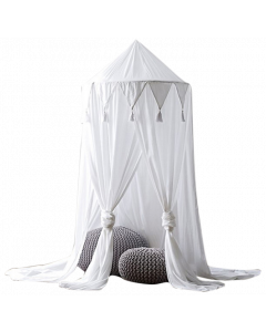 Childs Cotton Bedroom Tent Mosquito Canopy Curtain - White