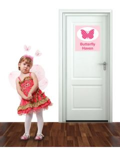 Door Sign Butterfly Haven Multi Coloured Wall Sticker Pack