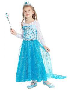 Princess Elsa Frozen Costume Five Piece Outfit-120 5-6 years