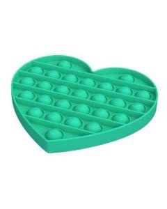 Silicone Bubble Fidget Sensory Toy Green Heart