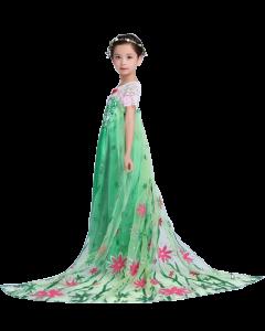 Kids Frozen Costume Party Princess  Dress Fever Green Elsa