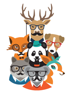 Hipster Animals Kids Name Labels (Retro)