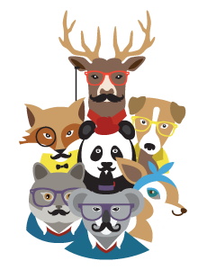 Hipster Animals Designed Ready To Go Name Labels