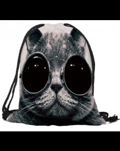 Kids Big Eyes Pussycat School Sport Swim Bag Drawstring Backpack