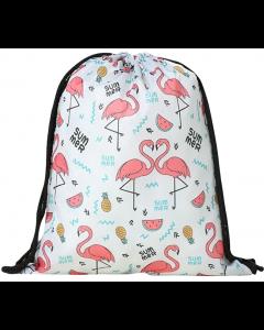 Kids Flamingo School Sport Swim Bag Drawstring Backpack