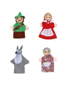 4 Piece Set Fairy Tale Little Red Riding Hood Finger Puppets