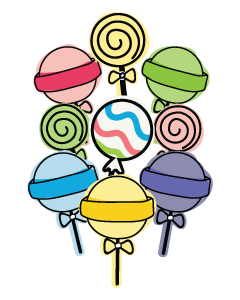 Lollipop Designed Ready To Go Name Labels (Pastel)