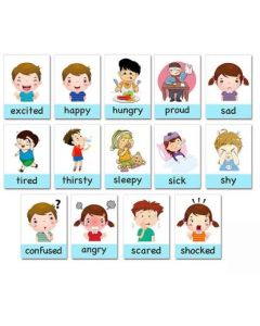 14pcs Childrens Early Educational Memory  Montessori Emotional Expression Flashcards