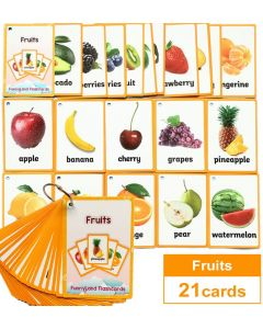 Montessori Flash Cards Funny Lands QR Code Iteractive Fruits