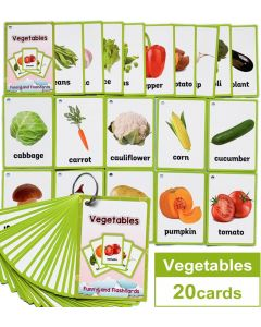 Montessori Flash Cards Funny Lands QR Code Iteractive Vegetables
