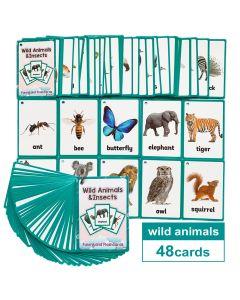 Montessori Flash Cards Funny Lands QR Code Iteractive Wild Animals