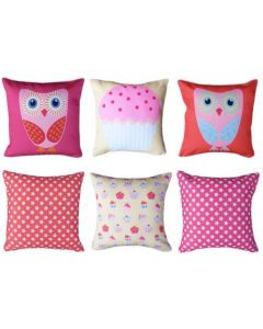 Owls and Cupcake (pack of 3) Cushions Pack