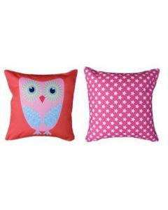 Themed Cushion - Owls & Cupcake - Pink & Blue Owl