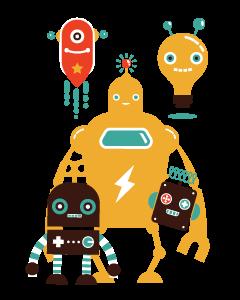 Retro Robots Designed Ready To Go Name Labels (Dark)
