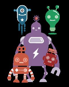 Retro Robots Designed Ready To Go Name Labels