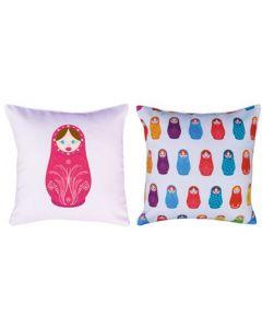 Themed Cushion - Russian Dolls - Pink
