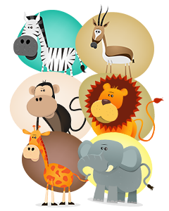 Safari Animals Name Labels