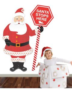 Santa Pattern Stop Here Multi Coloured Giant Character Pack