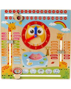 Wooden Montessori Owl Clock Calendar Weather Season Month Cognitive Preschool Educational Toy