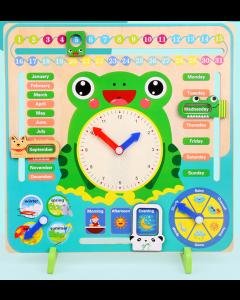 Wooden Montessori Clock Calendar Weather Season Month Cognitive Preschool Educational Toy.