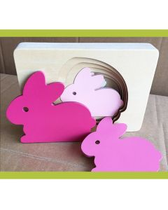 Wooden Rabbit Multilayered Jigsaw Puzzle Toy