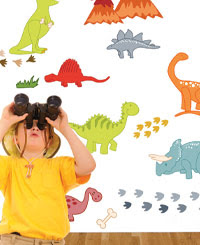 DECORATING IDEAS FOR BOYS' ROOMS: DINOSAUR WALL STICKERS.