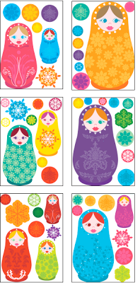 DECORATING IDEAS FOR GIRLS' ROOMS: RUSSIAN DOLLS WALL STICKERS