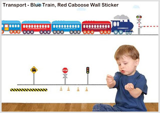 """THANKS GUYS FOR A SPEEDY DELIVERY."" (YASMINE) TRANSPORT - BLUE TRAIN, RED CABOOSE WALL STICKER."