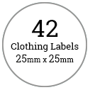 42 Circle Cloth Labels / 2 sheets per pack