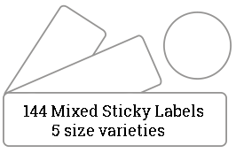 144 Mixed Sized Sticky Labels / 9 sheets per pack