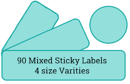 90 mixed labels / 6 sheets per pack
