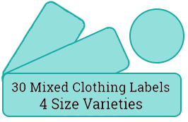 30 mixed cloth labels / 2 sheets per pack