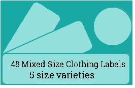 48 Mixed Size Cloth Labels / 3 sheets per pack
