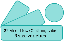 32 Mixed Size Cloth Labels / 2 sheets per pack